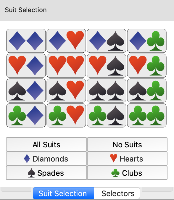 Selecting Poker suits (diamonds, hearts, clubs, spades)