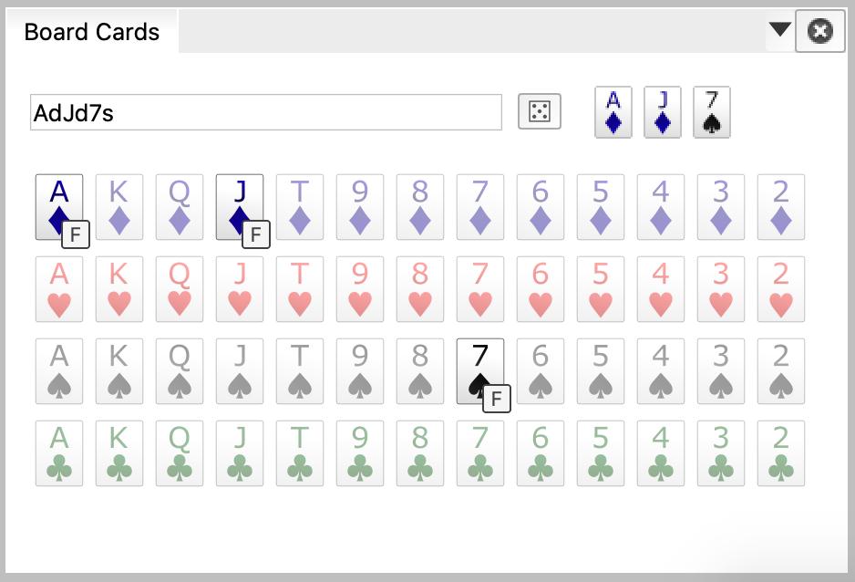 Ace of diamonds, Jack of diamonds, and Seven of spades (AdJd7s)