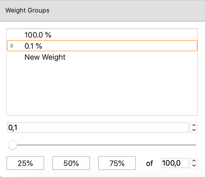 Newly created weight group in PokerRanger2