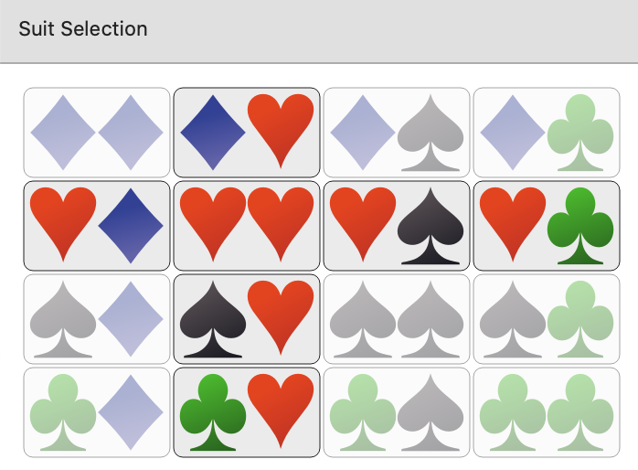 Only hearts selected in PokerRanger2